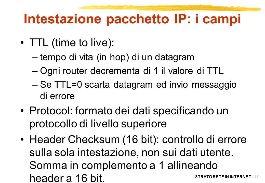 STRATO RETE IN INTERNET - 11 Intestazione pacchetto IP: i campi TTL (time to live): –tempo di vita (in hop) di un datagram –Ogni router decrementa di