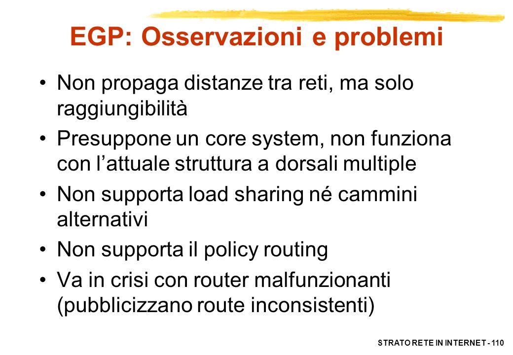 STRATO RETE IN INTERNET - 110 EGP: Osservazioni e problemi Non propaga distanze tra reti, ma solo raggiungibilità Presuppone un core system, non funzi
