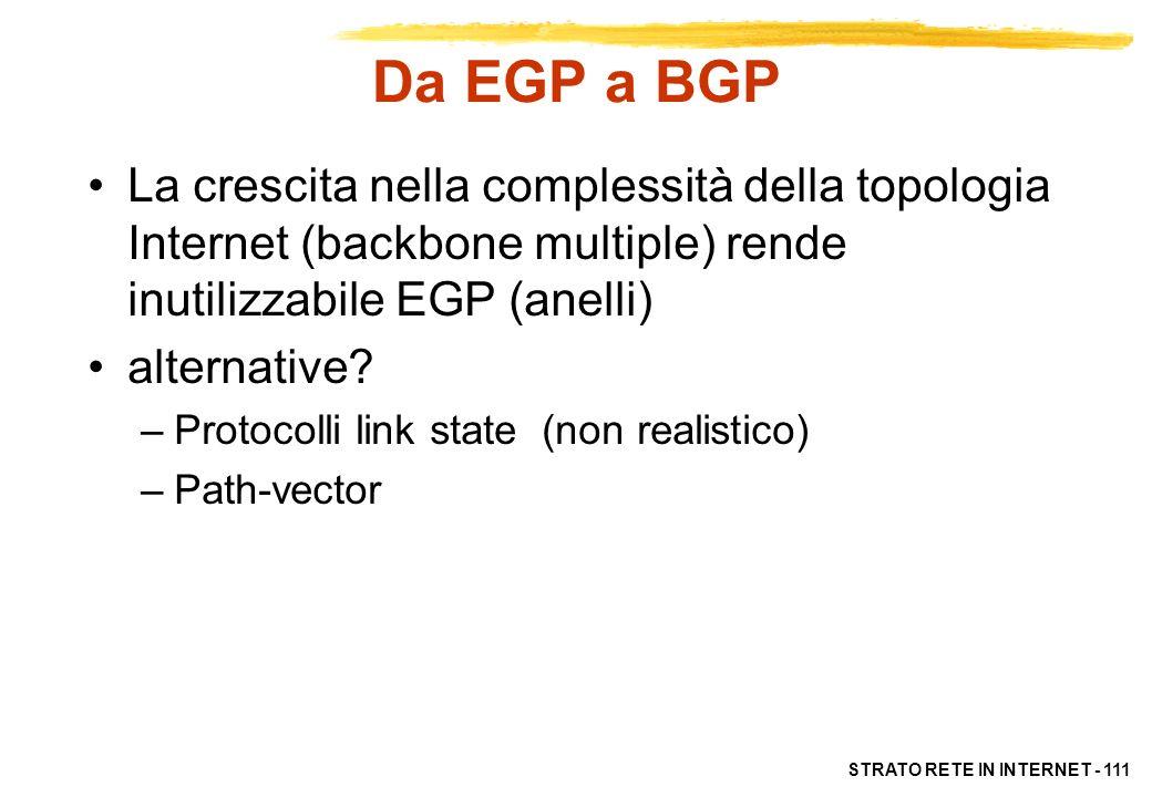 STRATO RETE IN INTERNET - 112 BGP: Border Gateway Protocol E il più diffuso EGP in Internet BGP permette di specificare politiche di instradamento per scegliere il cammino migliore in presenza di scelte multiple Le politiche di instradamento sono espressione di considerazioni economiche e gestionali, e tengono conto di aspetti di sicurezza