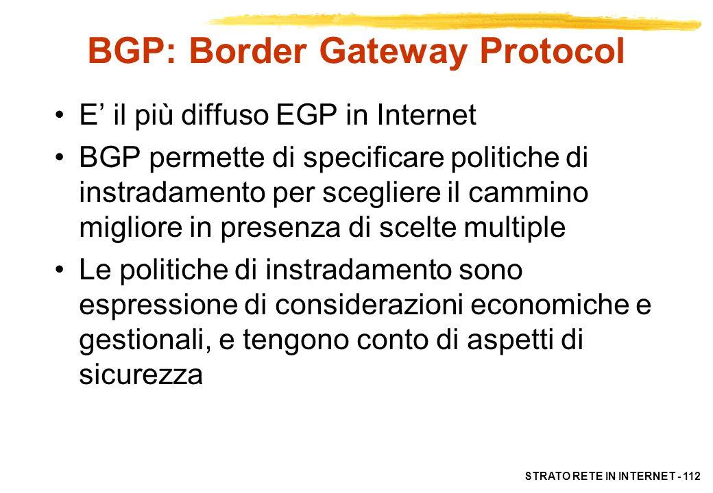 STRATO RETE IN INTERNET - 112 BGP: Border Gateway Protocol E il più diffuso EGP in Internet BGP permette di specificare politiche di instradamento per
