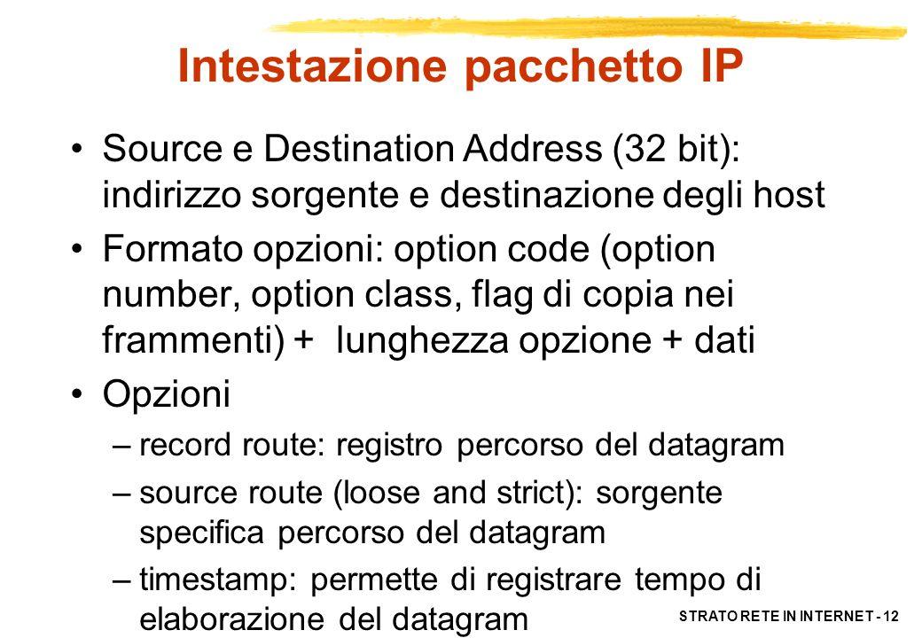 STRATO RETE IN INTERNET - 12 Intestazione pacchetto IP Source e Destination Address (32 bit): indirizzo sorgente e destinazione degli host Formato opz
