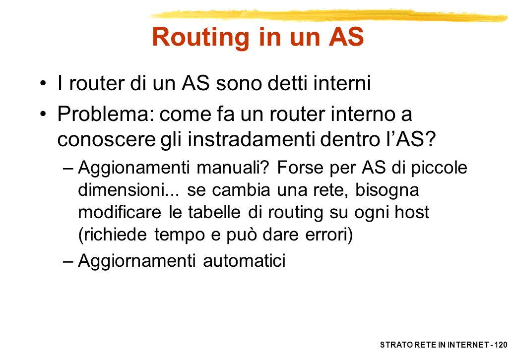 STRATO RETE IN INTERNET - 121 Routing in un AS In un AS, i router interni si scambiano dati di raggiungibilità per le reti dellAS Un protocollo per router interni si chiama, genericamente, IGP (Interior Gateway Protocol ) A differenza di EGP, non esiste un unico standard per i protocolli interni Algoritmi di routing interno più diffusi: –RIP (implementazione di distance vector) –OSPF (implementazione di link state)