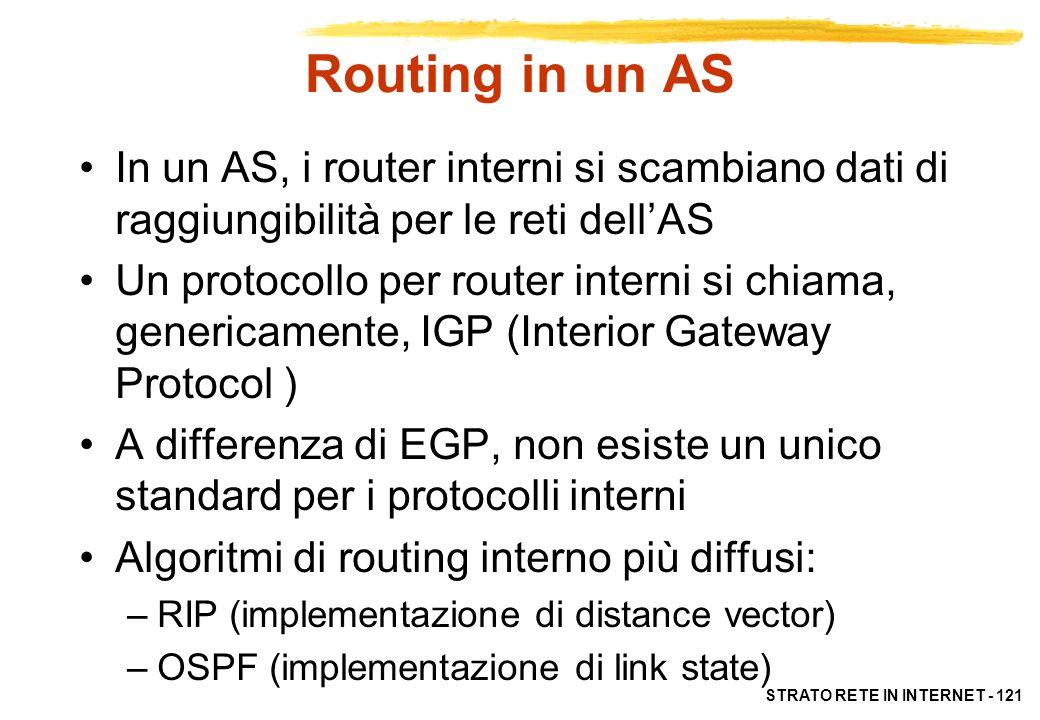 STRATO RETE IN INTERNET - 121 Routing in un AS In un AS, i router interni si scambiano dati di raggiungibilità per le reti dellAS Un protocollo per ro