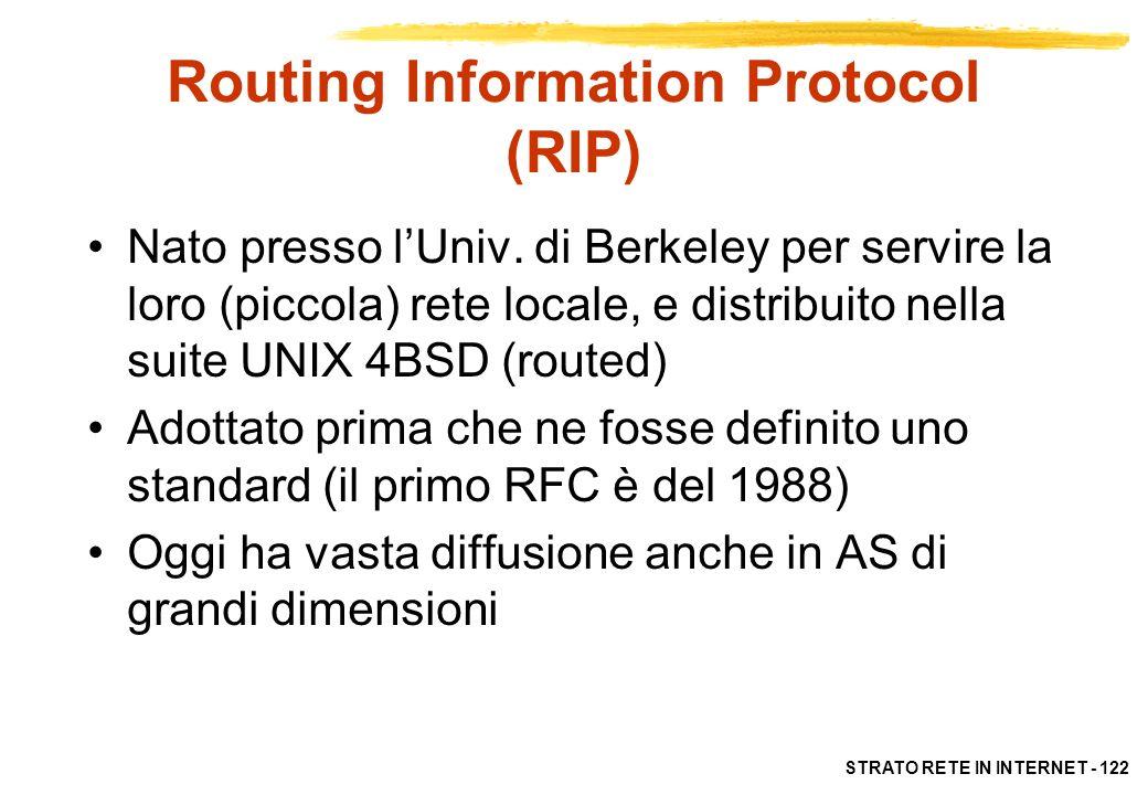 STRATO RETE IN INTERNET - 123 RIP: caratteristiche Usa una implementazione di distance vector Divide gli host in attivi (router) e passivi Gli host attivi pubblicizzano le loro route a tutti gli altri ogni n (di solito 30s) secondi, sotto forma di coppie (indirizzo, n.