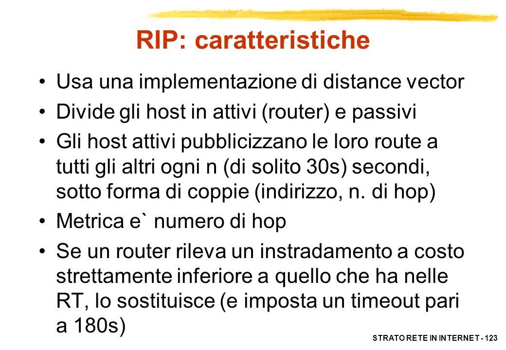 STRATO RETE IN INTERNET - 123 RIP: caratteristiche Usa una implementazione di distance vector Divide gli host in attivi (router) e passivi Gli host at