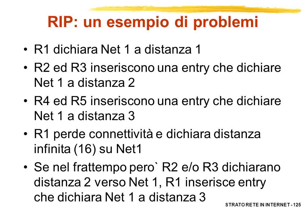 STRATO RETE IN INTERNET - 126 RIP: problemi Si converge lentamente crescendo le distanze di 1 ad ogni routing updates Data la lentezza di propagazione, si possono avere problemi di lenta convergenza o non consistenza delle RT (count to infinity) Non riconosce automaticamente eventuali loop (occorrono interventi esterni, o modifiche al protocollo) I problemi nascono dal numero limitato di informazioni scambiate tra i router (solo 2) e dalla mancanza di stretto coordinamento