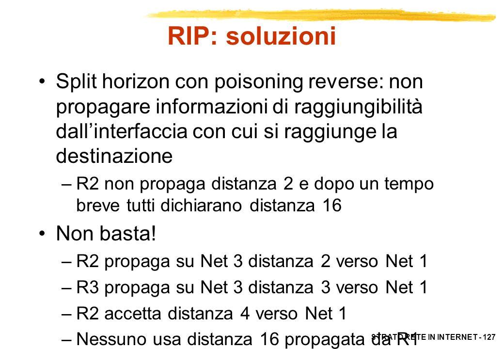 STRATO RETE IN INTERNET - 127 RIP: soluzioni Split horizon con poisoning reverse: non propagare informazioni di raggiungibilità dallinterfaccia con cu
