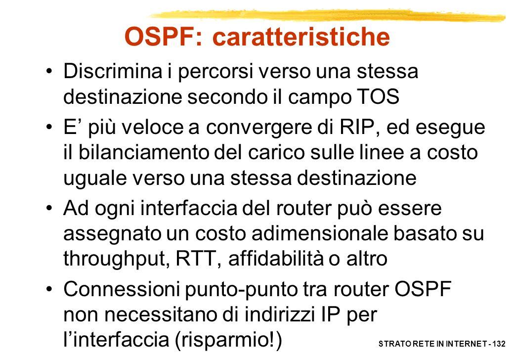 STRATO RETE IN INTERNET - 132 OSPF: caratteristiche Discrimina i percorsi verso una stessa destinazione secondo il campo TOS E più veloce a convergere