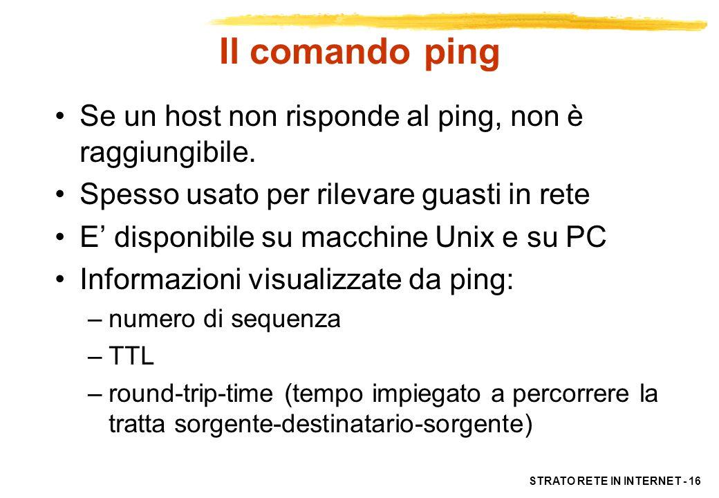 STRATO RETE IN INTERNET - 16 Il comando ping Se un host non risponde al ping, non è raggiungibile. Spesso usato per rilevare guasti in rete E disponib