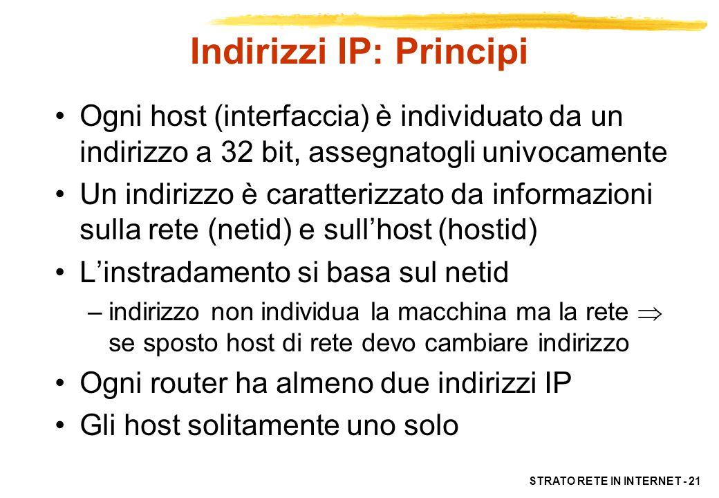 STRATO RETE IN INTERNET - 21 Indirizzi IP: Principi Ogni host (interfaccia) è individuato da un indirizzo a 32 bit, assegnatogli univocamente Un indir