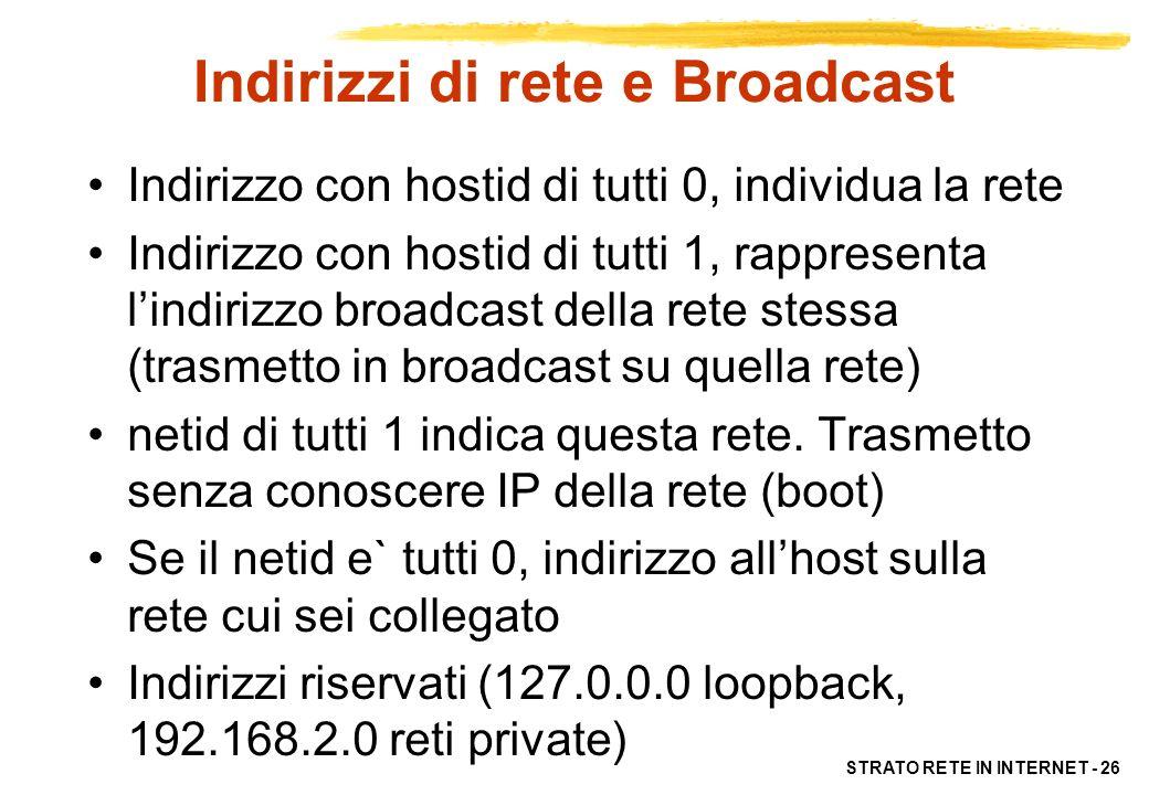 STRATO RETE IN INTERNET - 26 Indirizzi di rete e Broadcast Indirizzo con hostid di tutti 0, individua la rete Indirizzo con hostid di tutti 1, rappres