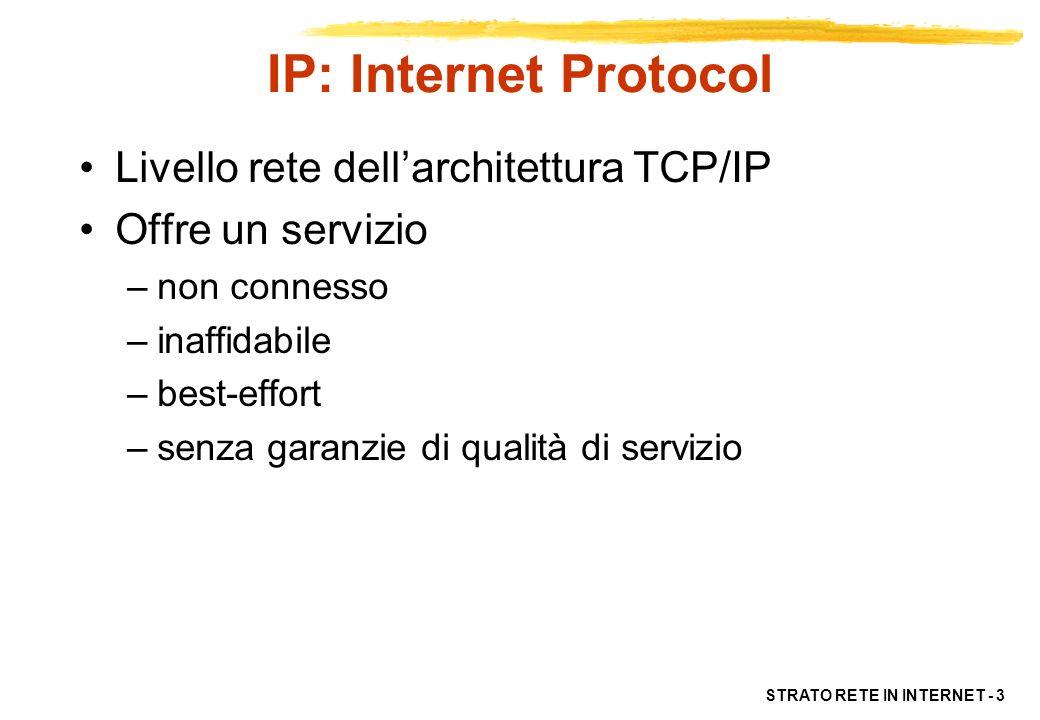 STRATO RETE IN INTERNET - 4 Il protocollo IP È un protocollo di strato rete (strato 3) Si occupa quindi dellindirizzamento e instradamento dei pacchetti (detti datagram) La consegna dei pacchetti IP è: –connectionless ogni pacchetto trattato in modo indipendente –inaffidabile (unreliable) perdita, duplicazioni, ritardi –non distingue tra diversi tipi di traffico (no priorità, tratta tutti in modo best-effort)