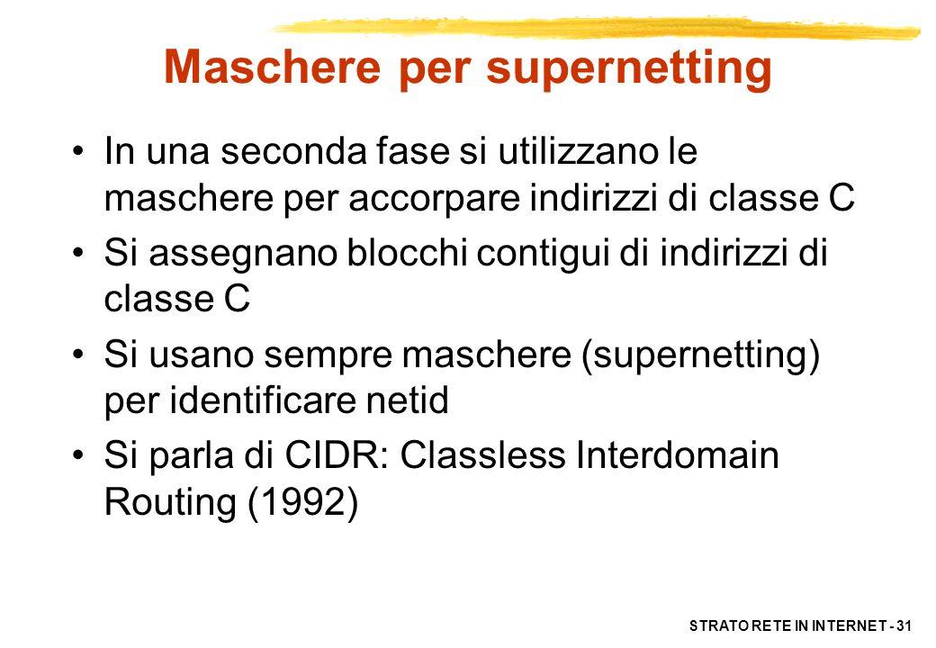 STRATO RETE IN INTERNET - 31 Maschere per supernetting In una seconda fase si utilizzano le maschere per accorpare indirizzi di classe C Si assegnano