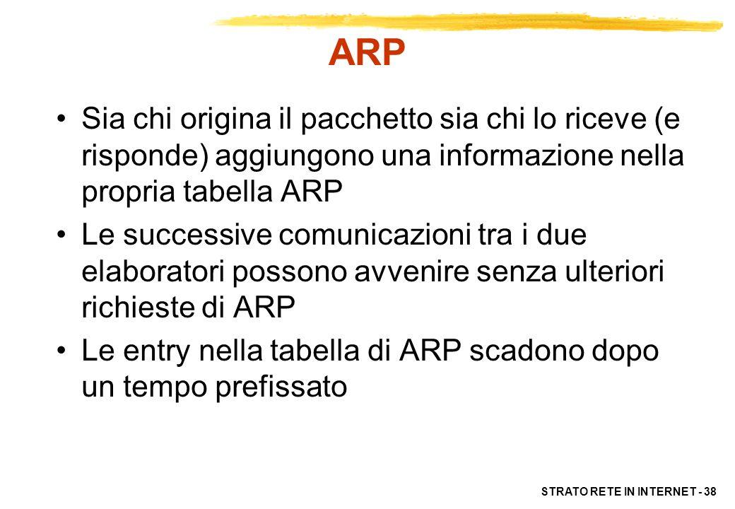 STRATO RETE IN INTERNET - 38 ARP Sia chi origina il pacchetto sia chi lo riceve (e risponde) aggiungono una informazione nella propria tabella ARP Le