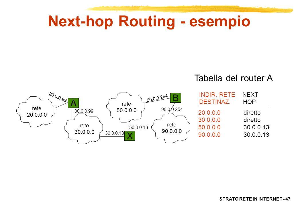 STRATO RETE IN INTERNET - 48 Instradamenti Default e Specifici Se il next-hop è unico (es: piccola sottorete con unico router), le tabelle di instradamento degli host possono contenere solo una default route per lesterno Linstradamento può essere specificato per host (host specific route) e non per sottorete per ragioni di: –testing –maggior sicurezza