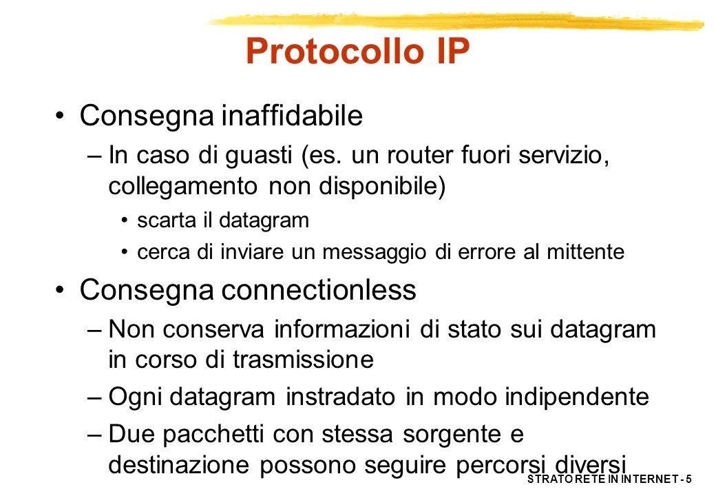STRATO RETE IN INTERNET - 5 Protocollo IP Consegna inaffidabile –In caso di guasti (es. un router fuori servizio, collegamento non disponibile) scarta