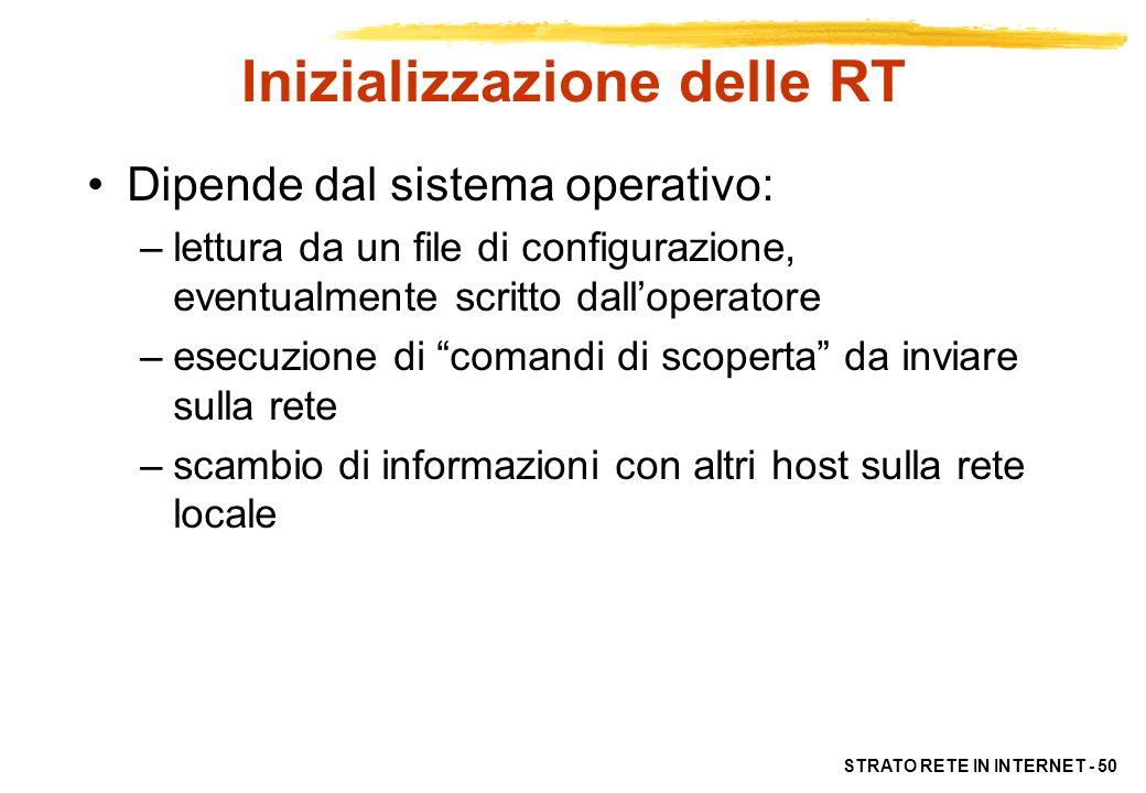 STRATO RETE IN INTERNET - 50 Inizializzazione delle RT Dipende dal sistema operativo: –lettura da un file di configurazione, eventualmente scritto dal