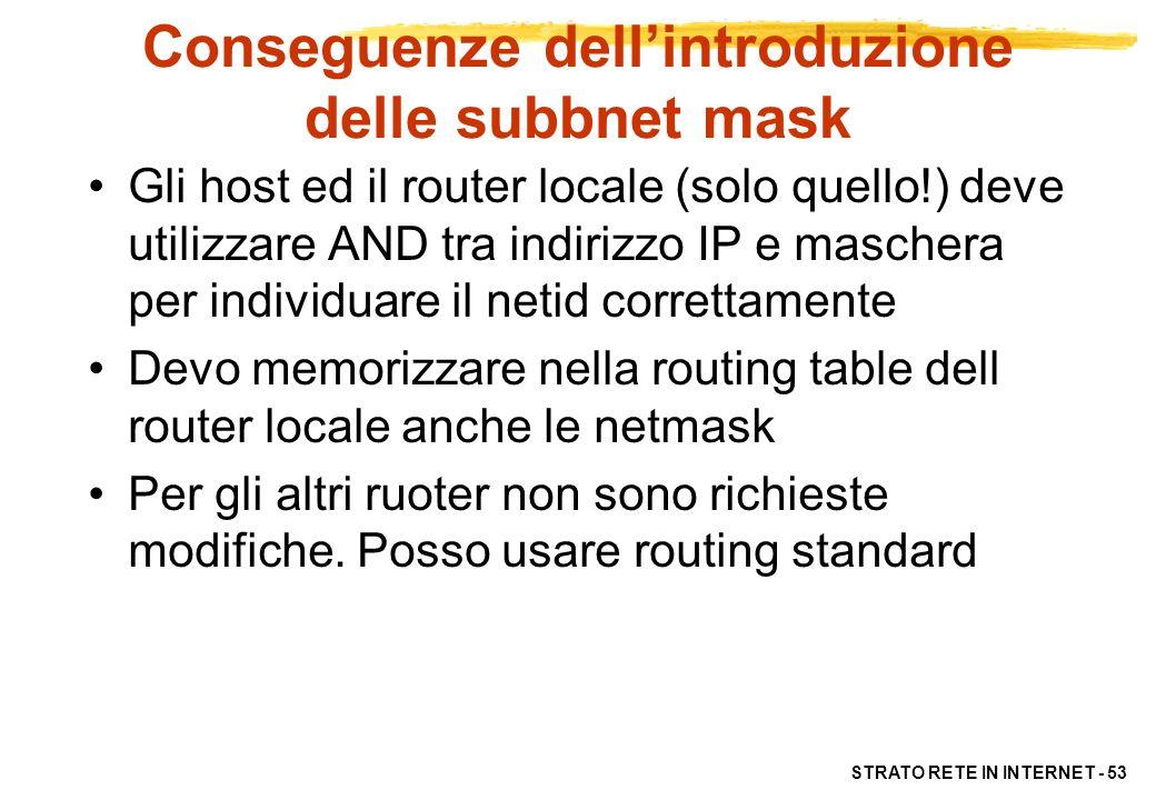 STRATO RETE IN INTERNET - 53 Conseguenze dellintroduzione delle subbnet mask Gli host ed il router locale (solo quello!) deve utilizzare AND tra indir