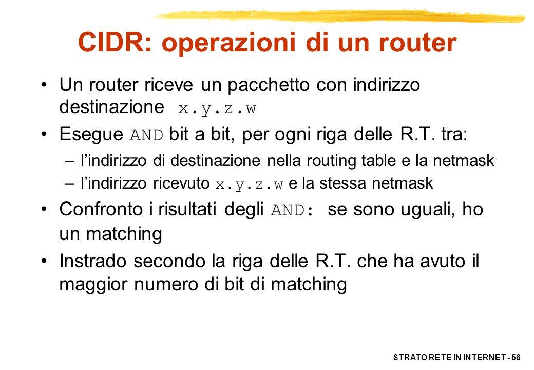 STRATO RETE IN INTERNET - 56 CIDR: operazioni di un router Un router riceve un pacchetto con indirizzo destinazione x.y.z.w Esegue AND bit a bit, per