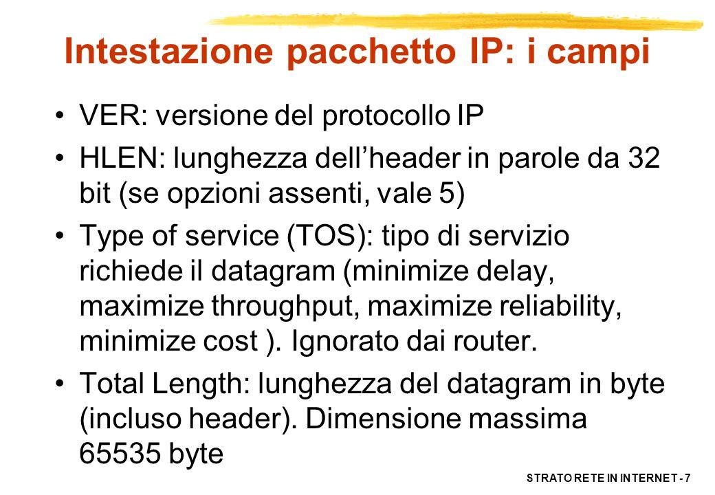 STRATO RETE IN INTERNET - 7 Intestazione pacchetto IP: i campi VER: versione del protocollo IP HLEN: lunghezza dellheader in parole da 32 bit (se opzi