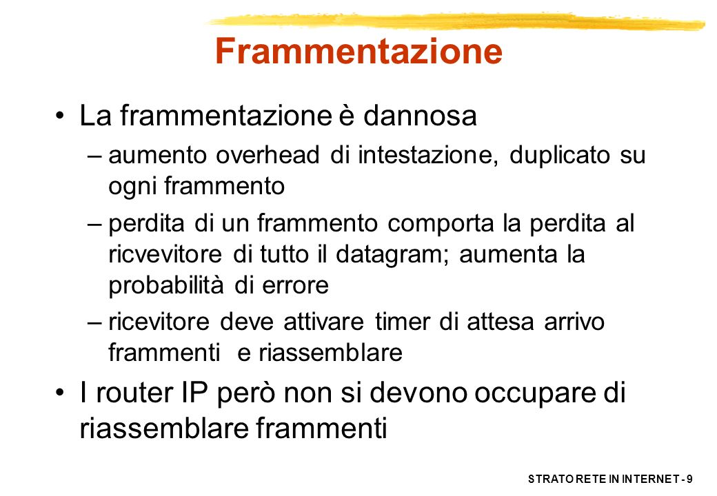 STRATO RETE IN INTERNET - 9 Frammentazione La frammentazione è dannosa –aumento overhead di intestazione, duplicato su ogni frammento –perdita di un f