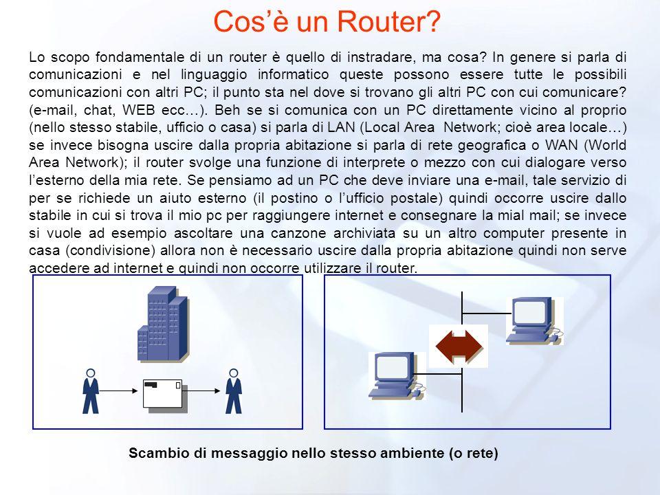 Cosè un Router? Lo scopo fondamentale di un router è quello di instradare, ma cosa? In genere si parla di comunicazioni e nel linguaggio informatico q
