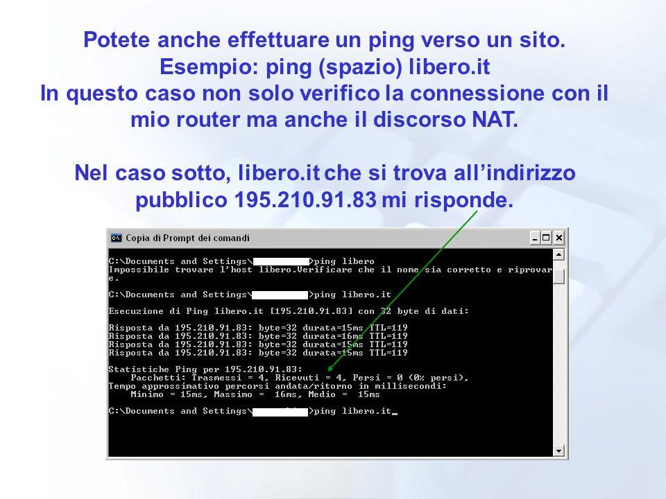Potete anche effettuare un ping verso un sito. Esempio: ping (spazio) libero.it In questo caso non solo verifico la connessione con il mio router ma a
