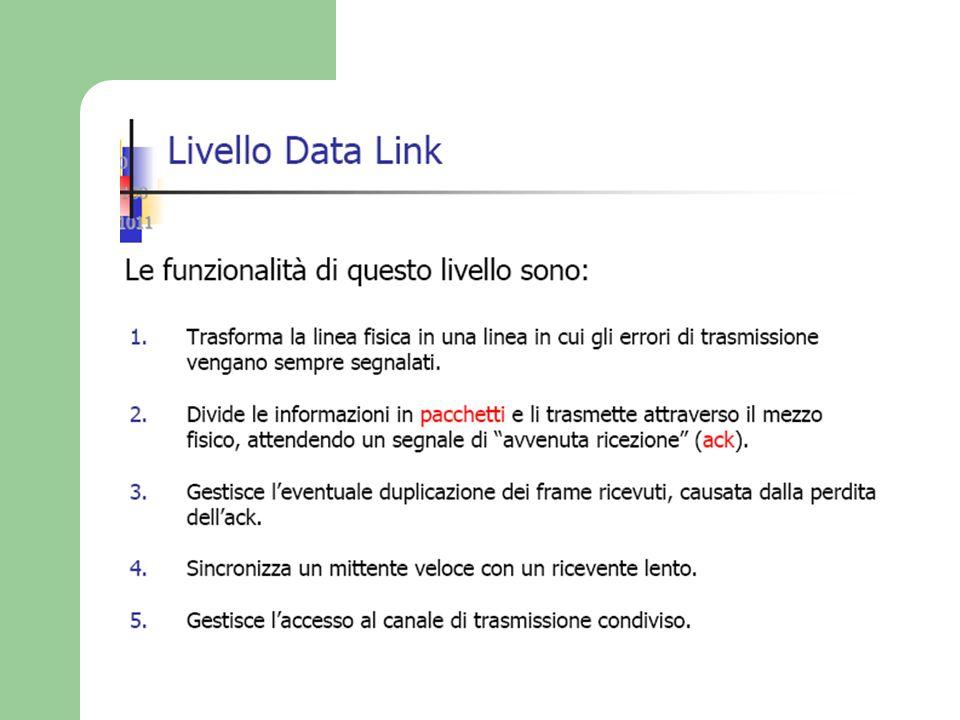 I LIVELLI DEL MODELLO OSI 2 - LIVELLO COLLEGAMENTO DATI(data link layer) assicura il trasferimento di un frame (blocco di info) privo di errori.