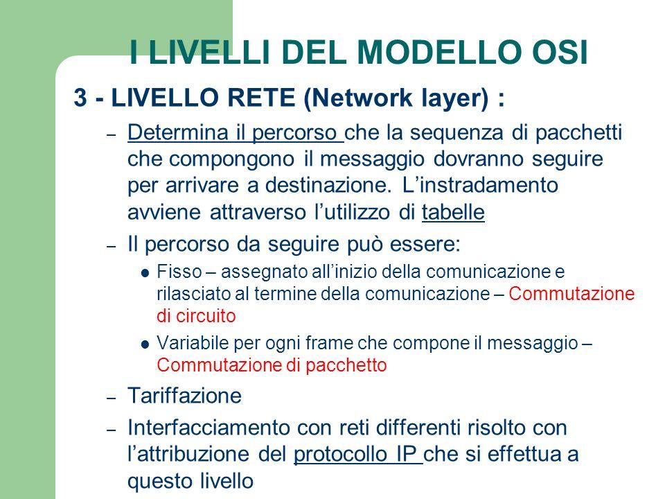 I LIVELLI DEL MODELLO OSI 3 - LIVELLO RETE (Network layer) : – Determina il percorso che la sequenza di pacchetti che compongono il messaggio dovranno