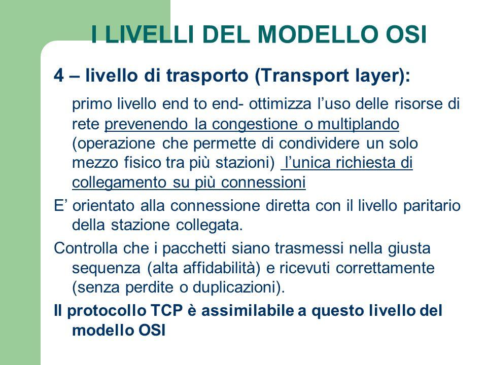 I LIVELLI DEL MODELLO OSI 4 – livello di trasporto (Transport layer): primo livello end to end- ottimizza luso delle risorse di rete prevenendo la con