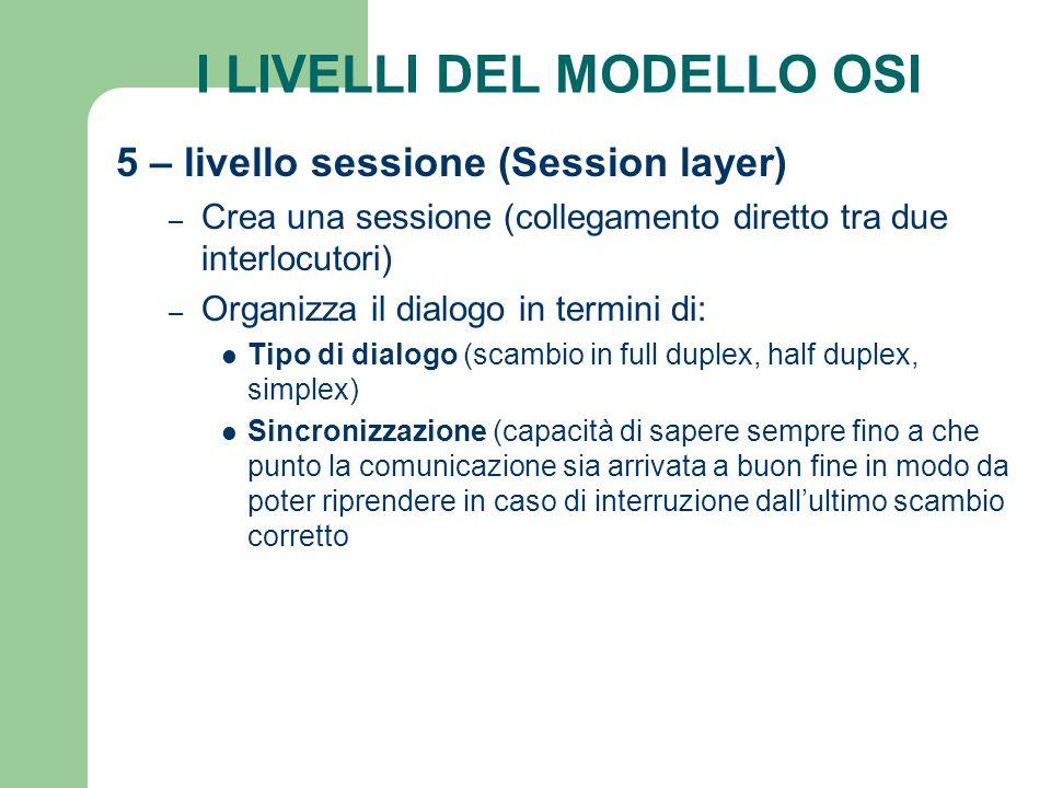 I LIVELLI DEL MODELLO OSI 5 – livello sessione (Session layer) – Crea una sessione (collegamento diretto tra due interlocutori) – Organizza il dialogo