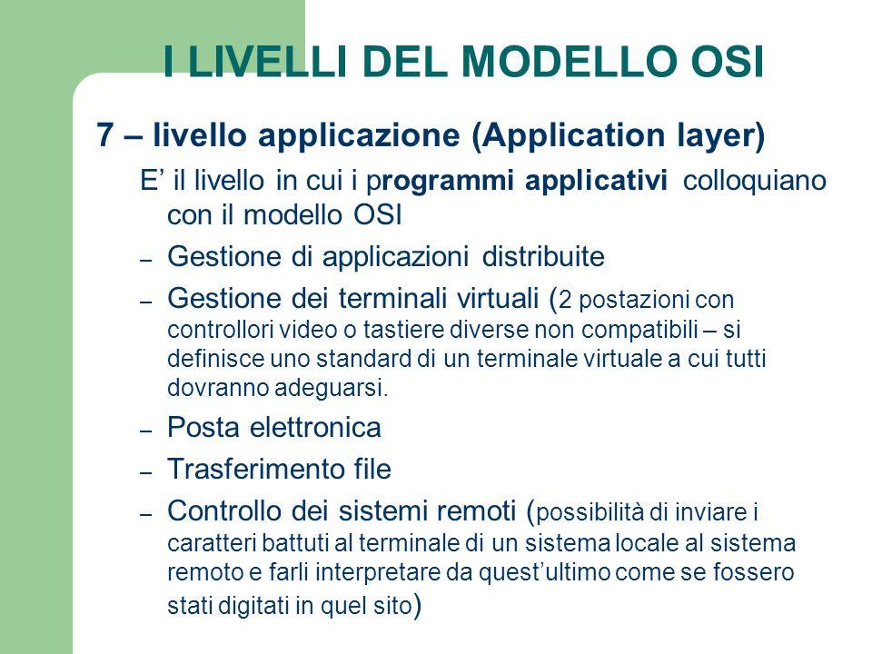 I LIVELLI DEL MODELLO OSI 7 – livello applicazione (Application layer) E il livello in cui i programmi applicativi colloquiano con il modello OSI – Ge