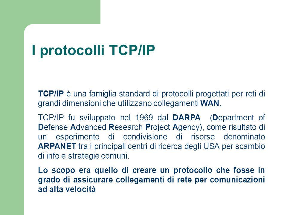 I protocolli TCP/IP TCP/IP è una famiglia standard di protocolli progettati per reti di grandi dimensioni che utilizzano collegamenti WAN. TCP/IP fu s