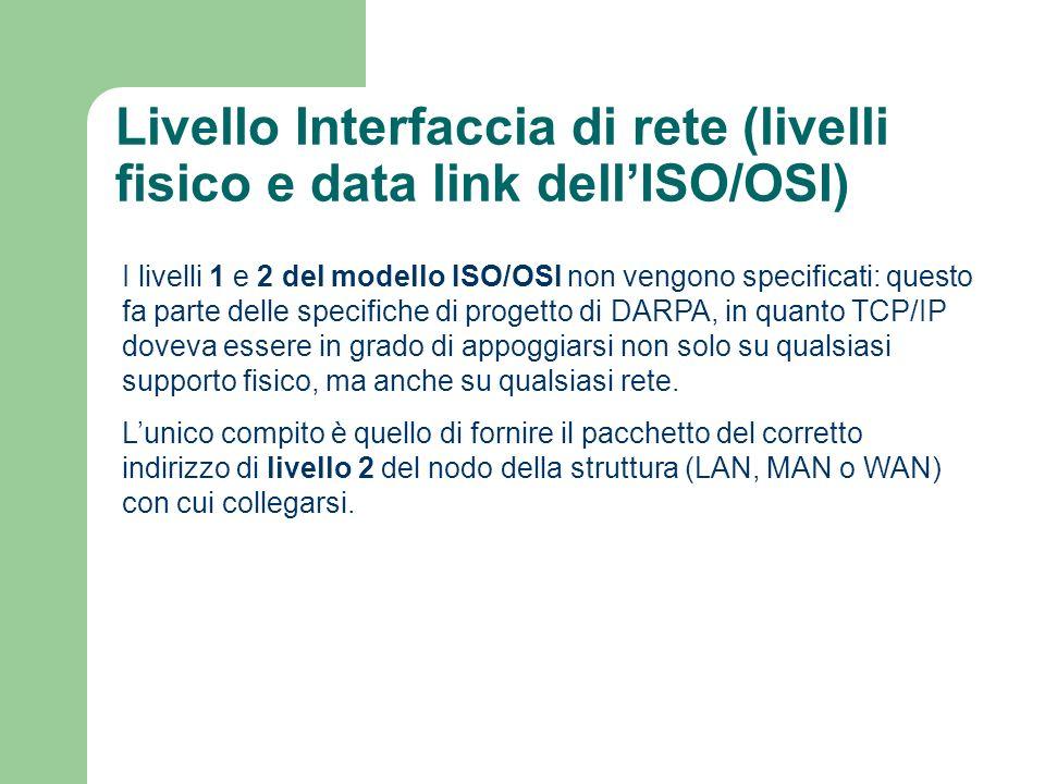 Livello Interfaccia di rete (livelli fisico e data link dellISO/OSI) I livelli 1 e 2 del modello ISO/OSI non vengono specificati: questo fa parte dell