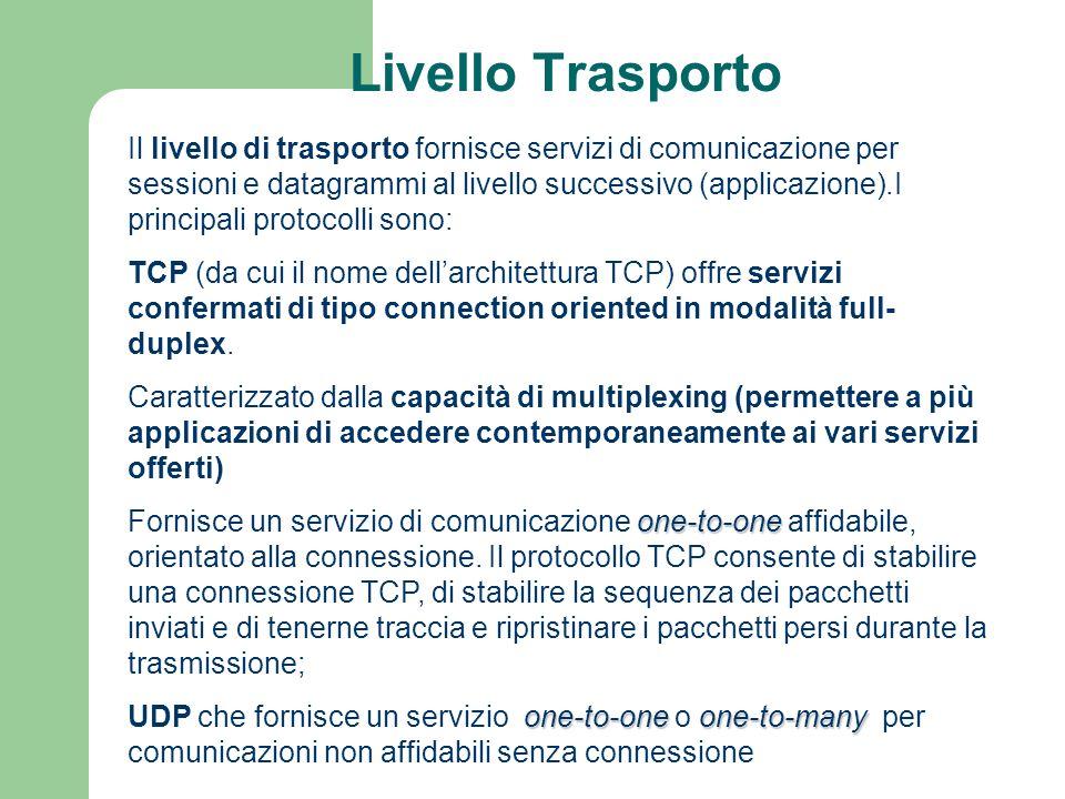 Livello Trasporto Il livello di trasporto fornisce servizi di comunicazione per sessioni e datagrammi al livello successivo (applicazione).I principal