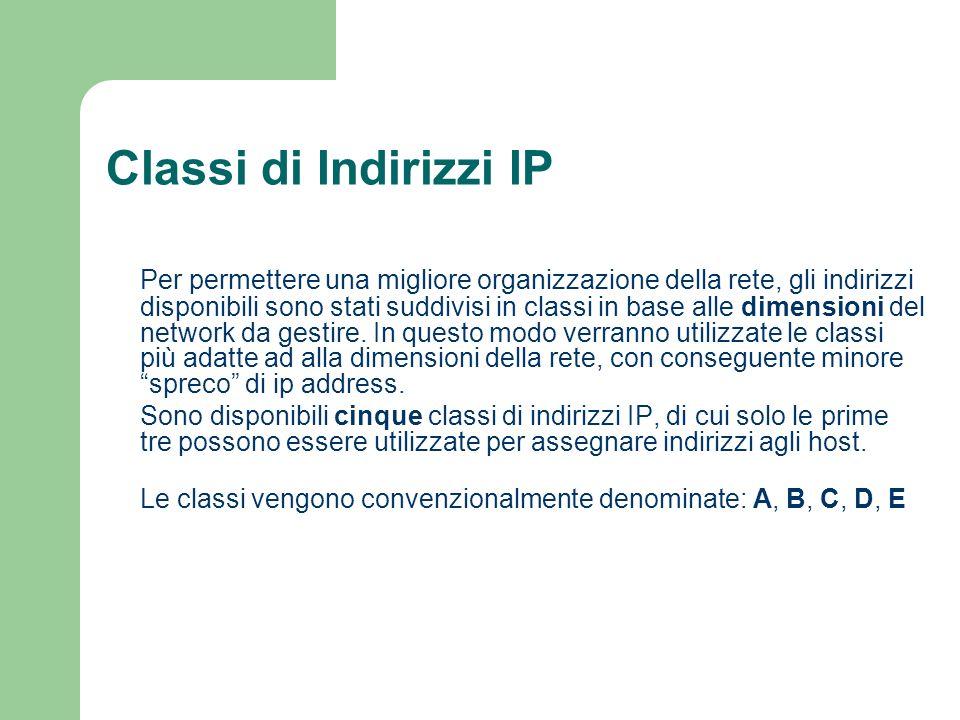 Classi di Indirizzi IP Per permettere una migliore organizzazione della rete, gli indirizzi disponibili sono stati suddivisi in classi in base alle di