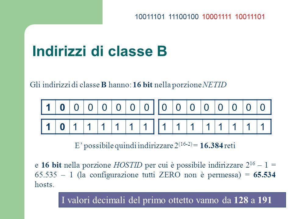 Indirizzi di classe B Gli indirizzi di classe B hanno: 16 bit nella porzione NETID 10000000 00000000 1011111111111111 E possibile quindi indirizzare 2