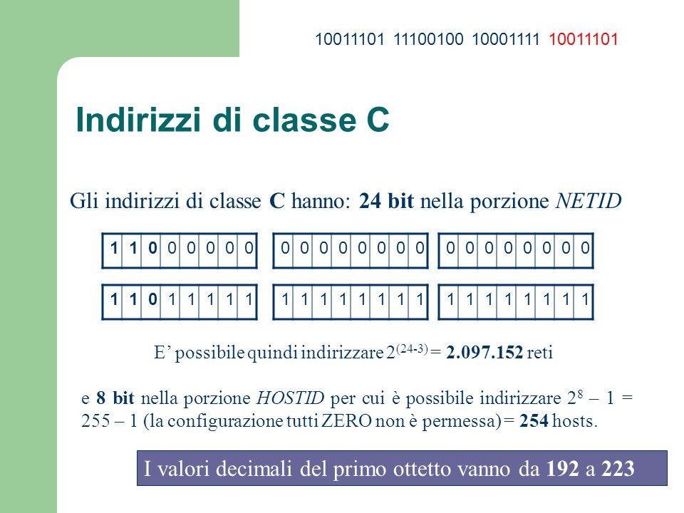 Indirizzi di classe C Gli indirizzi di classe C hanno: 24 bit nella porzione NETID 11000000 0000000000000000 110111111111111111111111 E possibile quin