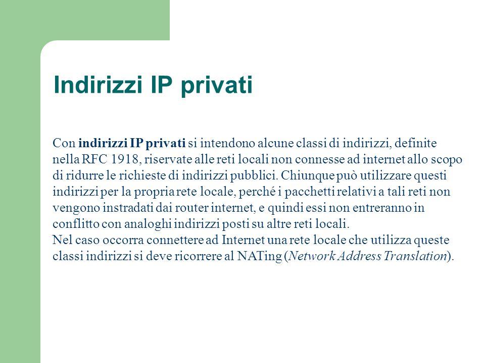 Indirizzi IP privati Con indirizzi IP privati si intendono alcune classi di indirizzi, definite nella RFC 1918, riservate alle reti locali non conness
