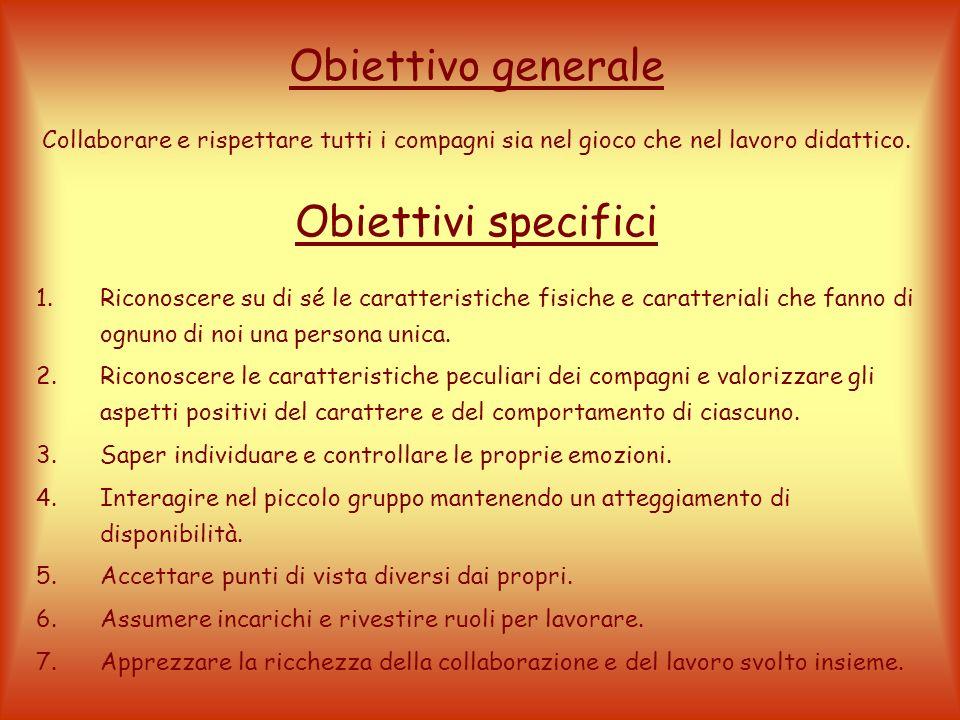 Obiettivo generale Collaborare e rispettare tutti i compagni sia nel gioco che nel lavoro didattico.