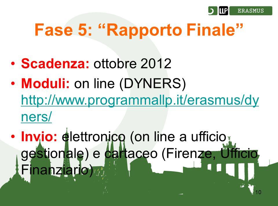 10 Fase 5: Rapporto Finale Scadenza: ottobre 2012 Moduli: on line (DYNERS) http://www.programmallp.it/erasmus/dy ners/ http://www.programmallp.it/erasmus/dy ners/ Invio: elettronico (on line a ufficio gestionale) e cartaceo (Firenze, Ufficio Finanziario)