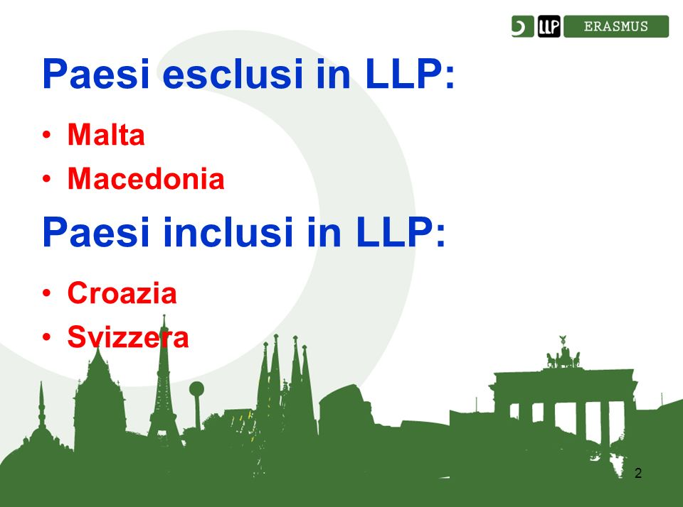2 Paesi esclusi in LLP: Malta Macedonia Paesi inclusi in LLP: Croazia Svizzera