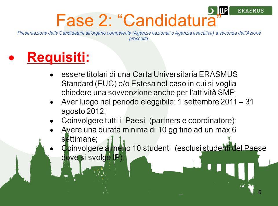 6 Fase 2: Candidatura Presentazione delle Candidature allorgano competente (Agenzie nazionali o Agenzia esecutiva) a seconda dellAzione prescelta.