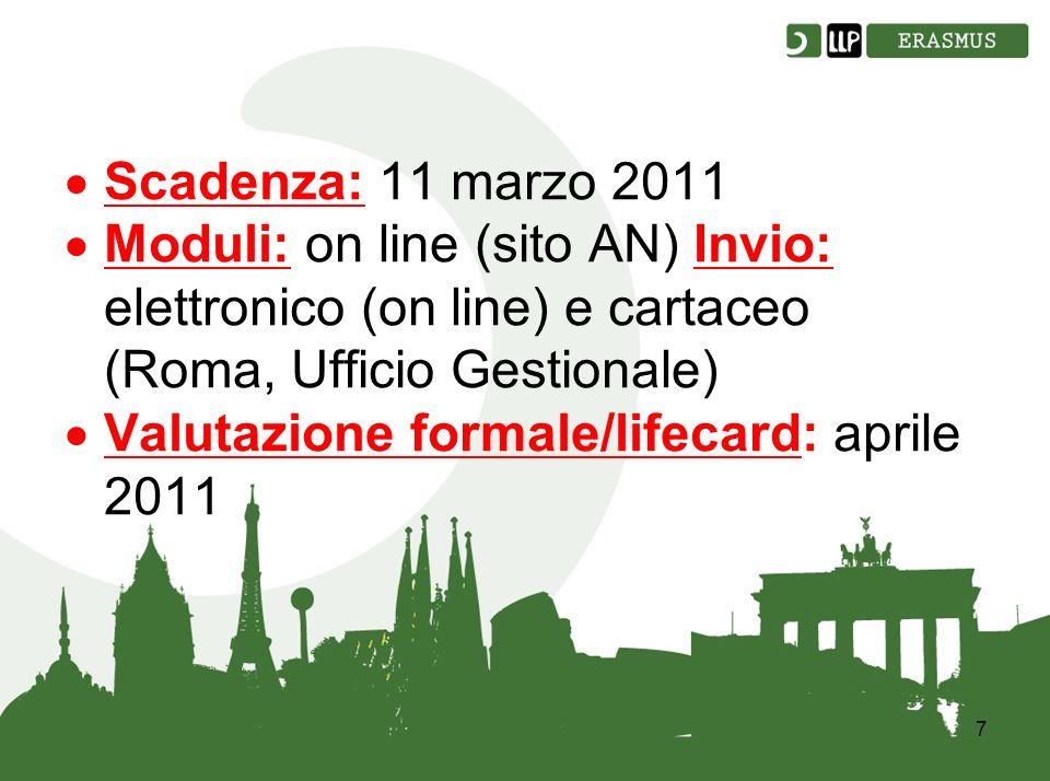 7 Scadenza: 11 marzo 2011 Moduli: on line (sito AN) Invio: elettronico (on line) e cartaceo (Roma, Ufficio Gestionale) Valutazione formale/lifecard: aprile 2011