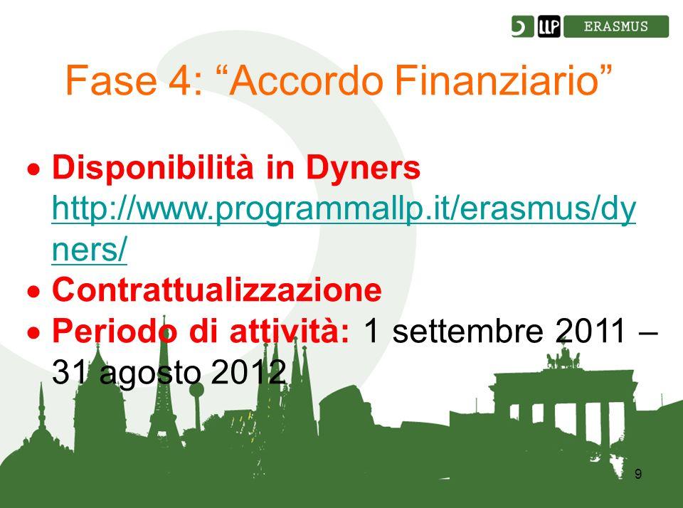 9 Fase 4: Accordo Finanziario Disponibilità in Dyners http://www.programmallp.it/erasmus/dy ners/ http://www.programmallp.it/erasmus/dy ners/ Contrattualizzazione Periodo di attività: 1 settembre 2011 – 31 agosto 2012