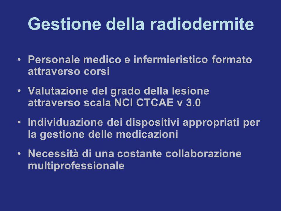 Gestione della radiodermite Personale medico e infermieristico formato attraverso corsi Valutazione del grado della lesione attraverso scala NCI CTCAE