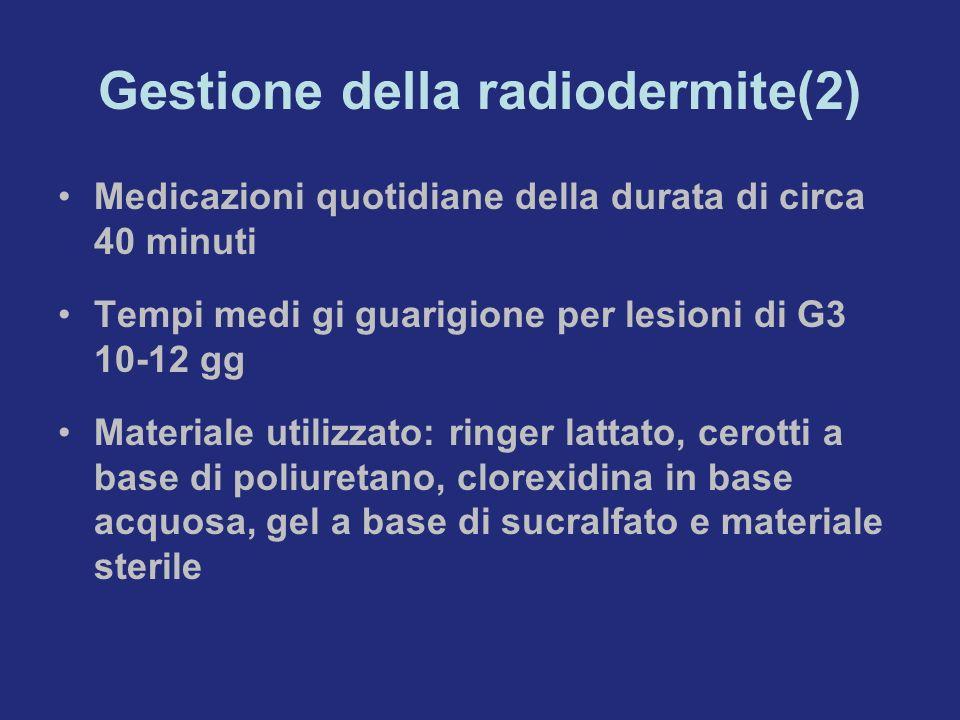 Gestione della radiodermite(2) Medicazioni quotidiane della durata di circa 40 minuti Tempi medi gi guarigione per lesioni di G3 10-12 gg Materiale ut