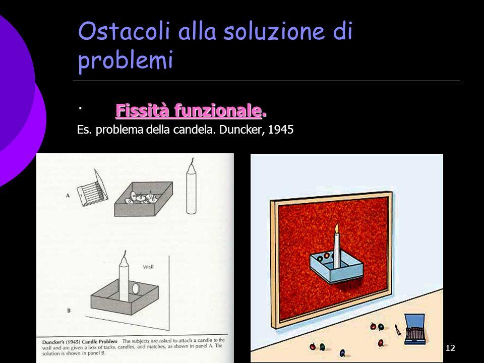 12 Ostacoli alla soluzione di problemi Fissità funzionale. · Fissità funzionale. Es. problema della candela. Duncker, 1945