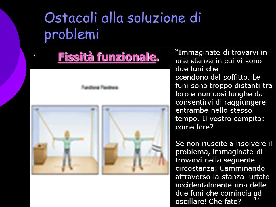 13 Ostacoli alla soluzione di problemi Fissità funzionale. · Fissità funzionale. · Immaginate di trovarvi in una stanza in cui vi sono due funi che sc