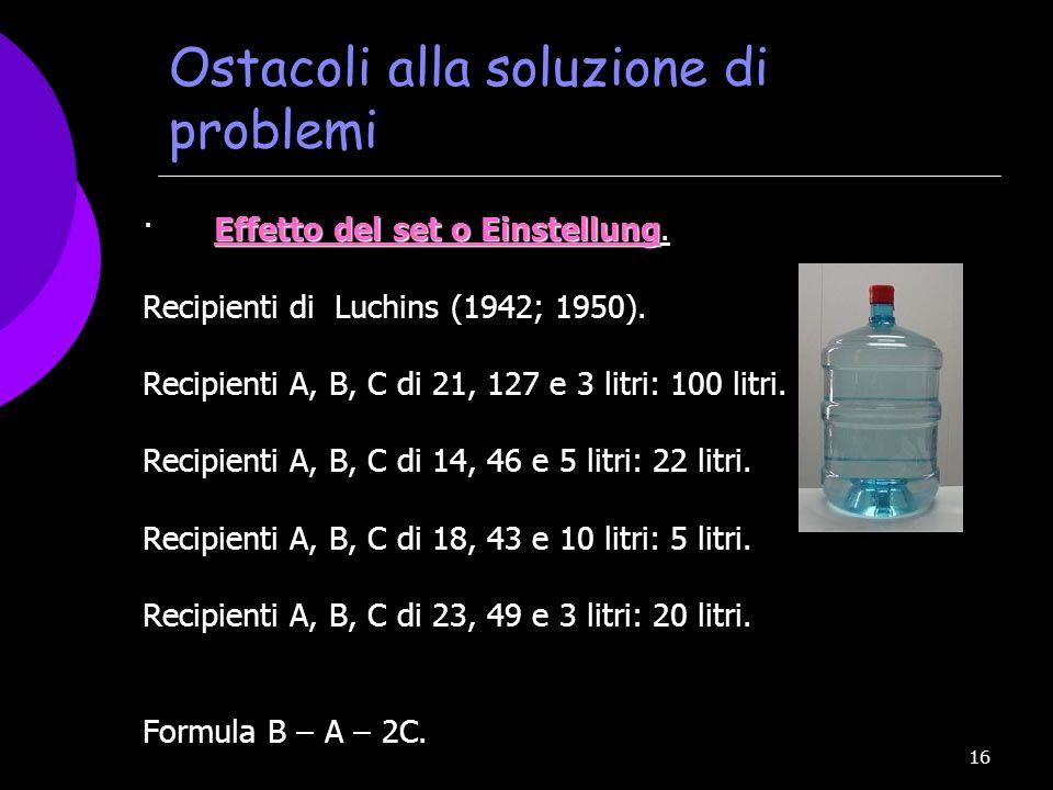 16 Ostacoli alla soluzione di problemi Effetto del set o Einstellung · Effetto del set o Einstellung. Recipienti di Luchins (1942; 1950). Recipienti A